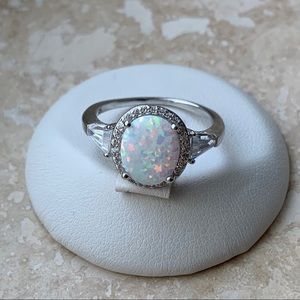 Jewelry - 💍NEW💍Sterling Silver White Lab Opal Wedding Ring